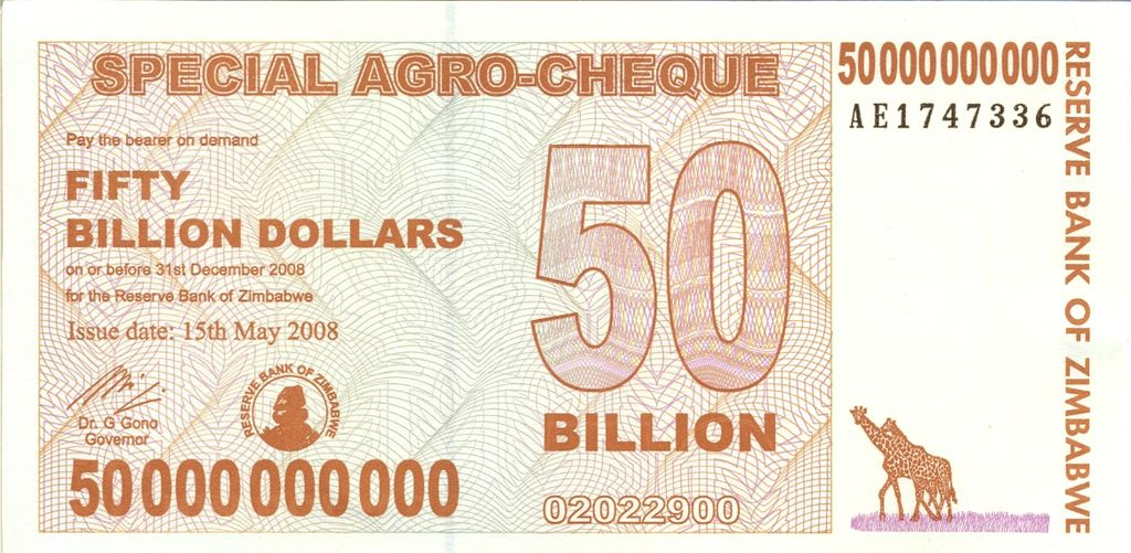 Zimbabwe Fifty Billion Dollar Note