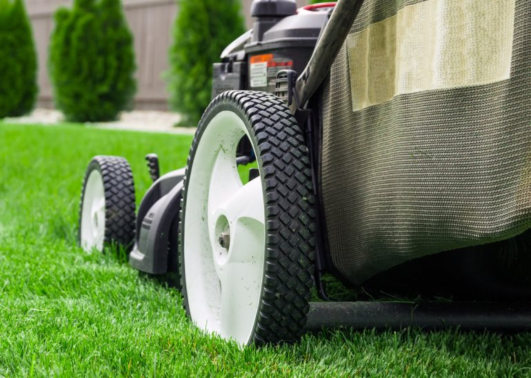 close-up-of-a-lawnmower-on-grass