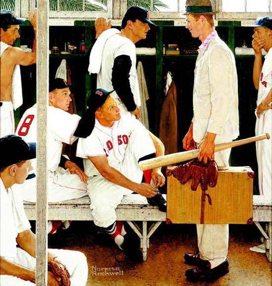 Norman-Rockwell-The-Rookie-Painting